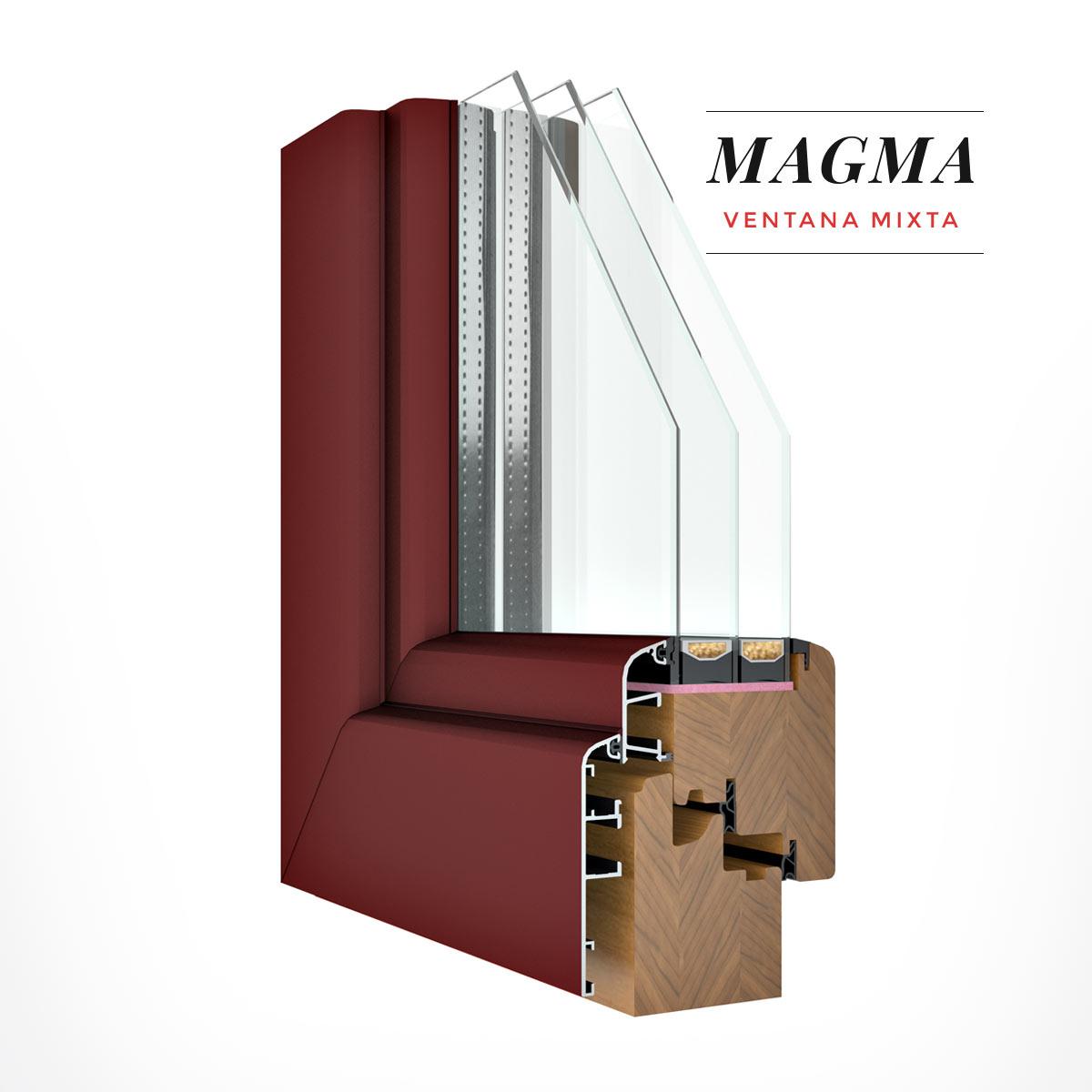 Carreté Finestres - ventana de madera y aluminio de color granate - Ventanas mixtas Magma