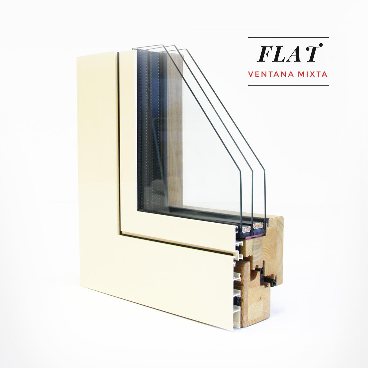 Carreté Finestres - ventana mixta Flat de madera de pino natural y aluminio con exterior Blanco